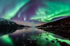 Belle réflexion des aurores boréales dans le Kafjord au nord de la Norvège.