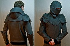 Helmet-Hoodie just in case Looks Style, Looks Cool, My Style, Knight Hoodie, Estilo Geek, Knights Helmet, Men's Fashion, Fashion Outfits, Costumes