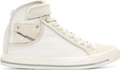 Diesel  - Off-White Washed Canvas High-Top Sneakers