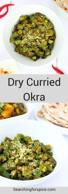 This dry curried okra makes a great vegan Indian side dish as part of a thali meal. It's a really quick, tasty and healthy way to cook okra too #okra #howto #vegan #IndianRecipes #sidedish #vegetarian