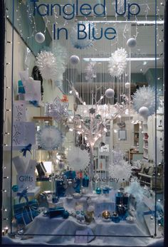 Christmas window 2013 Tangled up in Blue Boutique Window Displays, Window Ideas, Tangled, Shops, Windows, Creative, Christmas, Blue, Shopping