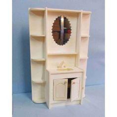 Salle de bain miniature en bois brut échelle 1/6ème pour poupées mannequins (30 cm environ)