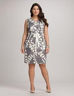 Plus Size | Dresses | Plus Size Textured Leaf Print Dress