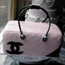 black/pink chanel bag cake