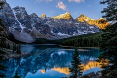 Early morning at Moraine Lake in Alberta, Canada