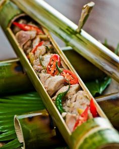 Linotlot na manok (chicken cooked in bamboo tube) from bagobo tribe of davao del sur, Philippines