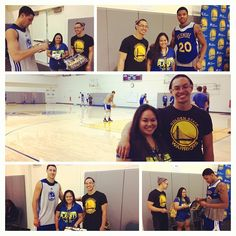 Our Week 1 #AuthenticFan contest winner Brenda enjoys her prize - watching the #Warriors practice and meeting Kent Bazemore and Klay Thompson! Congrats again, Brenda! #GSWCountdown