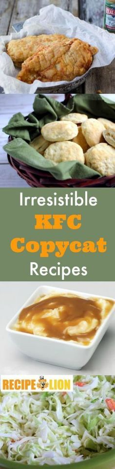 Just updated! 11 Irresistible KFC Copycat Recipes. Finger lickin' good! Homemade mashed potatoes, cole slaw recipes, fried chicken recipes, and more!