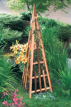 "Pyramid Trellis $130. Gardeners.com Add a striking vertical element to vegetable and flower gardens, while giving vines a sturdy place to climb. This pyramid-shaped obelisk is perfect for clematis and climbing roses. Made in USA from 100% western red cedar that is durable and naturally decay-resistant. It can be painted or stained, or be left unfinished to weather to a soft gray. Western red cedar 23-1/4"" square at base x 81"" H"