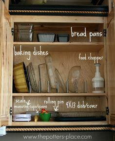 The Potter's Place: organize your baking dishes.  So easy to grab a dish or utensil, just when you need it...