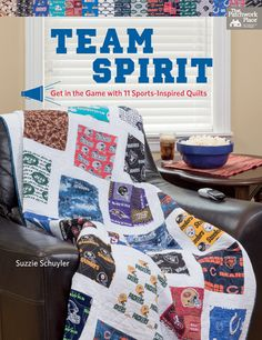 "NEW: Team Spirit - Get in the Game with 11 Sports-Inspired Quilts by Suzzie Schuyler. ""To make the most of today's sports-themed or novelty fabrics, here's a winning game plan. Discover a strong lineup of patterns designed specifically for large-scale prints--sure to score big points with your family and friends. Choose from 11 quilts, including great ideas for both guys and gals."""