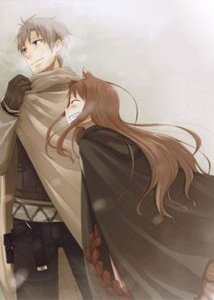 """Spice and Wolf - Isuna Hasekura - Craft Lawrence, a traveling merchant, while visiting a small pagan town during the harvest festaval, accidentally frees the local harvest god. This """"god"""" is a centuries old giant wolf named Holo who took on the form of a young girl. She stikes a deal with Lawrence so she can travel with him and seek out her homeland to the north."""