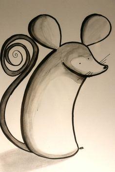 Illustration originale signe du zodiaque chinois le rat à l'aquarelle et aux feutres encre de chine de la boutique SwordandStar sur Etsy