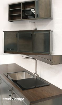 Discover the Workshop Kitchen Range by Steel Vintage. Vintage Kitchen Cabinets, Solid Doors, Open Face, Bespoke Kitchens, Wall Units, Kitchen Units, Cupboard Doors, Wood Colors, Joinery