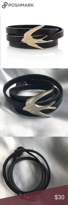 McQ Alexander McQueen Leather Wrap Bracelet The leather is in really good condition and the faded-gold tone hardware is in good condition-- I tried to capture the condition of the hardware because inside the creases of the piece there are little specs of what might be rust, but it's not noticeable at all. Alexander McQueen Jewelry Bracelets