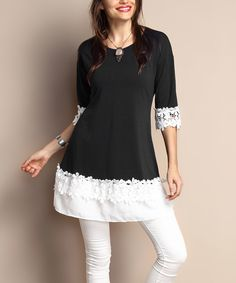Look at this Black Layered Chiffon Tunic - Plus on #zulily today!