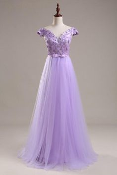 Light Purple tulle Prom Dresses Cap Sleeves Appliques Party Dresses