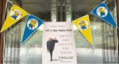 Gru's free printable silly fun front door party warning sign ; )