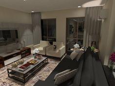 Projeto é o resultado da soma perfeita de cores neutras, decoração contemporânea com toques de decoração clássica, fazendo a  integração da sala de jantar, sala de tv e estar. Um luxo!