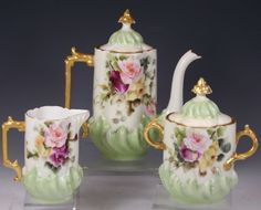 LIMOGES HAND PAINTED Tea set Roses