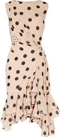 Polkadot Silk Georgette Dress