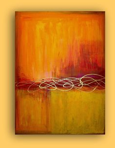 abstract art - huge orange and red acrylic by Ora Birenbaum Art Original, Art Moderne, Acrylic Art, Art Techniques, Painting Inspiration, Diy Art, Painting & Drawing, Modern Art, Abstract Art