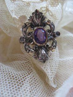 Antique Rose Cut Diamond Amethyst Ring   14K Silver