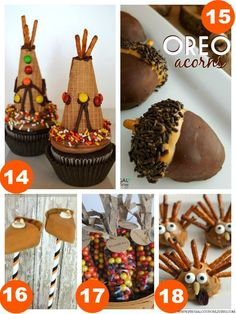 Teepee Cupcakes, OREO Acorns, Pumpkin Pie Cake Pops, Indian Corn Thanksgiving Favors, Turkey Peanut Butter Treats and 31 Days of Thanksgiving Kids Food Craft Ideas on Frugal Coupon Living