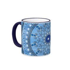 Hand Drawn Pretty Blue And White Mandala Flower Ringer Coffee Mug Paint Background, Flower Mandala, Hand Drawn, Coffee Mugs, How To Draw Hands, Vibrant, Blue And White, Pretty, Flowers