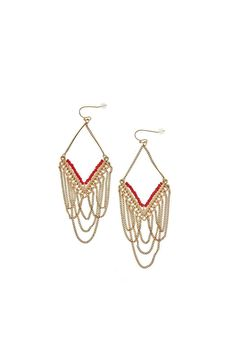 """Bold & statement worthy, our red beaded and gold chain dangle earrings are sure to turn heads when you wear them. These earrings are perfect for the girl who's a little bit boho and a little bit rock and roll!    Earrings are approximately 3.75"""" long.   Red Chain Earrings by Wild Lilies Jewelry . Accessories - Jewelry - Earrings Pennsylvania"""