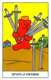 Seven of Swords:gain tremendous self esteem. You have trained yourself to instinctively notice the opportunity.  Source:Gummy Bear Tarot Deck© U.S. Games Systems, Inc.