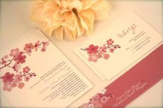 Pink Cherry Blossoms Wedding Invitation Suite - SAMPLE