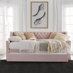 Little Seeds Monarch Hill Ambrosia Twin Daybed with Trundle Trundle Mattress, Twin Daybed With Trundle, Mattresses, Cheap Mattress, Upholstered Daybed, Sofa Bed, Full Platform Bed, Low Loft Beds, Bed Slats
