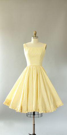 Vintage 50s Dress/ 1950s Cotton Dress/ Lanz Yellow Gingham Print Cotton Dress w…
