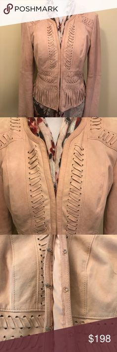 White House Black Market Jacket WHBM suede jacket Beautiful soft leather Stitch detail with fringe Hook & eye front closure (see picture) Excellent condition - worn once! Super-cute!  Sad to part with this jacket - Just not my color! White House Black Market Jackets & Coats