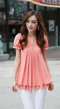 Stand Collar Short Sleeves Lace Splicing Solid Color Sweet Style Chiffon Blouse For Women Chiffon Shirt, Chiffon Tops, One Step, Fat Women, Blouse Online, Blouse Dress, Sammy Dress, Mode Outfits, Ladies Dress Design