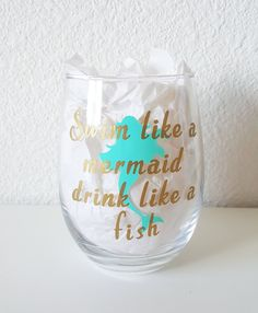 Your place to buy and sell all things handmade Mermaid Drink, Wine Glass Decals, Mountain Designs, Vinyl Decals, Nautical, Swim, Fish, Mountains, Glasses
