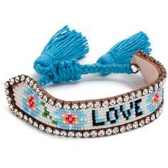 Shourouk Love Flower Bracelet (3,525 DOP) ❤ liked on Polyvore featuring jewelry, bracelets, flower jewelry, swarovski crystal jewelry, letter jewelry, initial jewelry and initial bangle