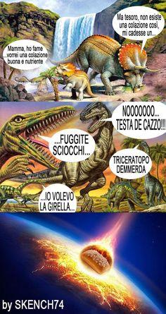 SCOPERTA FINALMENTE LA CAUSA DELLA ESTINZIONE DEI DINOSAURI!  - alessandro monaco - Google+ Funny Images, Funny Photos, Italian Memes, Wtf Moments, Pokemon, Funny Pins, T Rex, Videos Funny, Vignettes