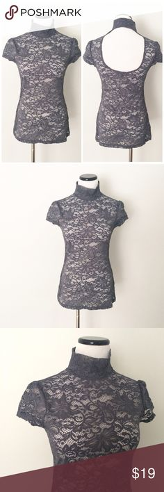 "EXPRESS Gray lace mock neck Top with open back Gently worn once. Gray lace mock neck worth cut out back. Length 25"". Chest 16"". Express Tops"