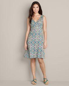 Cute pattern! A different take on gray. Surplice Knit Dress - Print | Eddie Bauer - Tall - $80