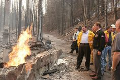 Ca Governor Arnold and Fire October 2007 at the Grass Valley and Slide Fires