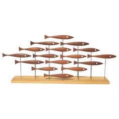 Mid-century Modern Inspired 16 Fish Sculpture In Vintage Teak By Tyler Fritz Fish Sculpture, Modern Sculpture, Abstract Sculpture, Wood Sculpture, Metal Sculptures, Bronze Sculpture, Natural Wood Table, Fish Artwork, Wood Table Bases