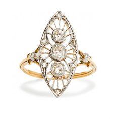 vintage edwardian three stone diamond ring / trumpet & horn