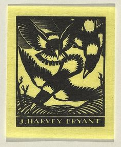 Adrian Feint, Bookplate for J. Harvey Bryant, 1933, wood-engraving, printed in black ink, from one block | Copyright: Courtesy the Estate of Adrian Feint