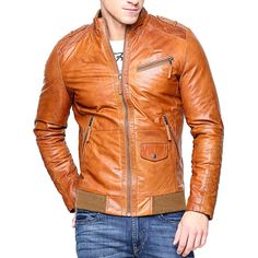 Men Real Lambskin Tan Brown Leather Motorcycle Slim fit Biker Bomber Jacket Brand Leather Edges Country/Region of Manufacture Pakistan Running Size USA true Size Material Genuine leather Interior Brown Leather Jacket Men, Tan Leather Jackets, Biker Leather, Leather Men, Custom Leather, Handmade Leather, Leather Shoes, Studded Jacket, Jacket Brands