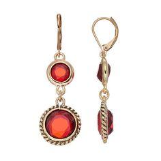 Dana Buchman Red Faceted Double Drop Earrings, Women's