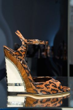 Brian Atwood Leopard Wedge Sandal Spring Summer 2014