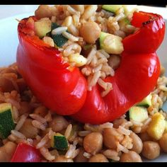 Get stuffedpepper. Brown rice and veggies all spiced up and broiled. Good eats.