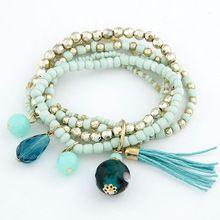 Bohemian Multi Layers Fashion Beads Bracelets & Bangles for Women Tassel Balls Men Brazaletes Pulseras Mujer Bijoux Femme(China (Mainland))